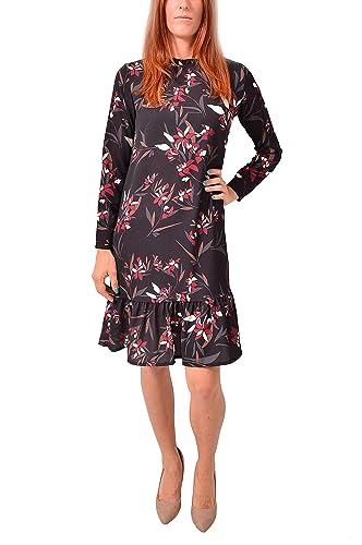 VILLAGGIOWEAR Made in Italy Vestito Nero Fiori Sera Abbigliamento Moda Donna