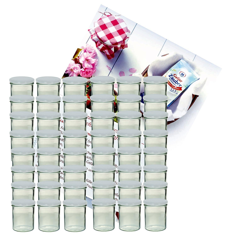 Set di 48 vasetti in vetro da 350 ml, per conserve e marmellate di frutta, con coperchi colore bianco e quaderno di ricette [lingua italiana non garantita] MamboCat