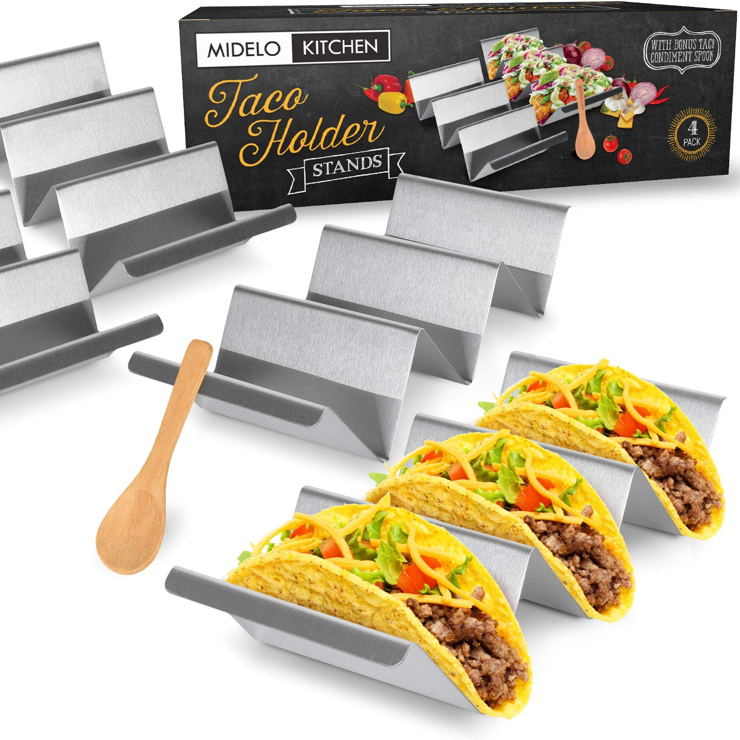 Taco Holder Stands (4 Pack) w/BONUS Serving Spoon - Dishwasher & Oven Safe Taco Racks - Made From Durable Food-Grade Stainless Steel - Easily Fill Your Tacos & Serve Them With The Built-In Handles