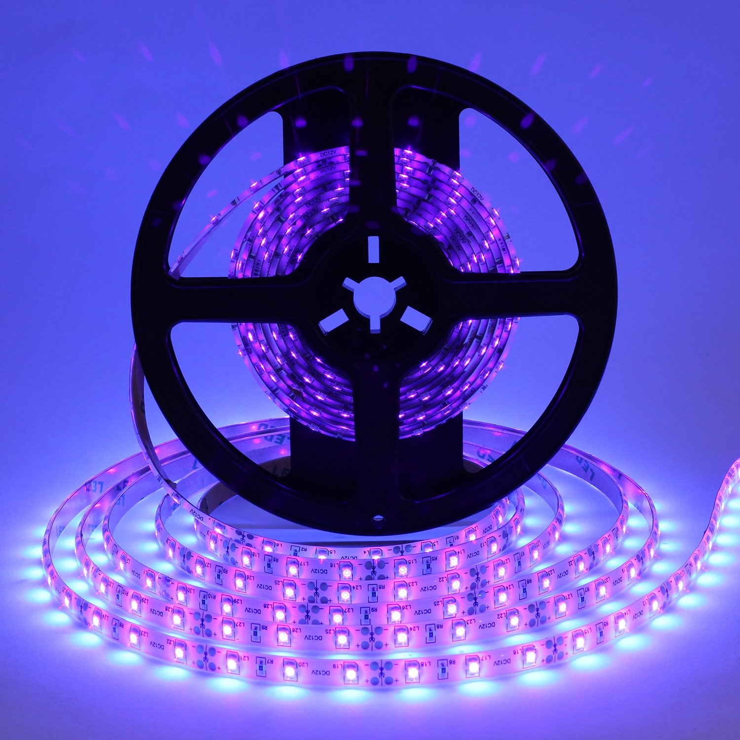 Foxdam Black light Uv/Ultraviolet Led Strip 16.4ft 3528 SMD 300Leds Waterproof IP65 with 12V 2A Power Supply LED Tape by Foxdam