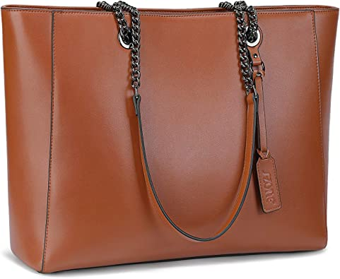 S-ZONE Mujer Bolsa Cuero Genuino 15.6 Inch Laptop Bolsa de Hombro Bolso de Mano para Trabajo Compras Viajes