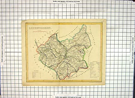 Old Original Antique Victorian Print Map Leicestershire England