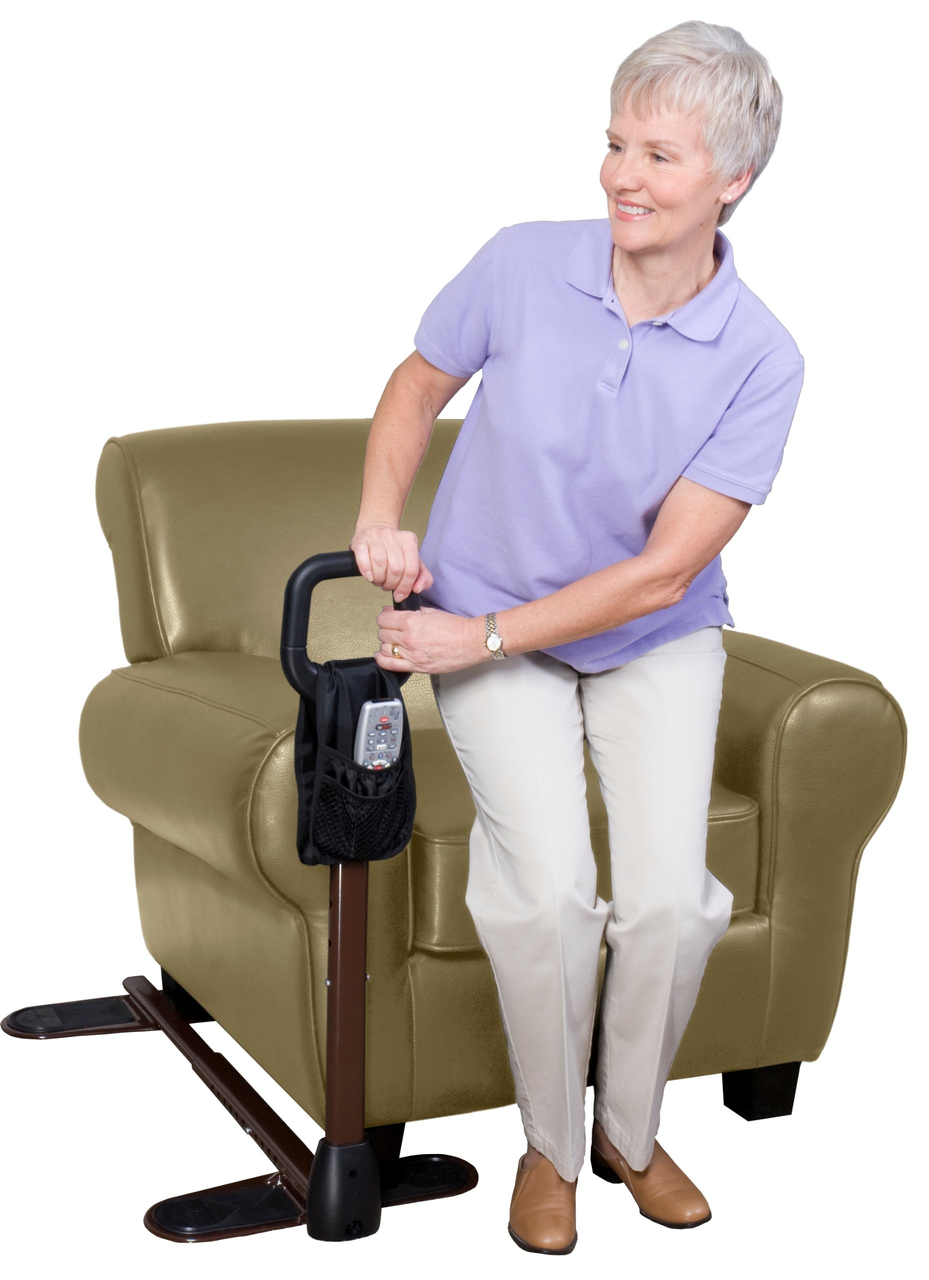 Stander CouchCane -  Ergonomic Safety Support Handle + Adjustable Living Room Standing Aid for Chair Couch & Lift Chair + Organizer Pouch by Stander
