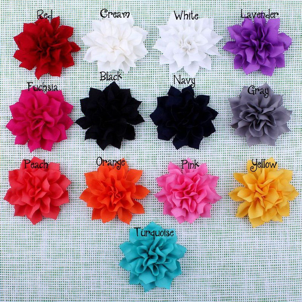 Pack of 20PCS Mixed Colors Flat-bottomed Beautiful DIY Handmade Decorative Chiffon Flowers with Pearl and Rhinestone for Hair Clips, Scrapbooking and More Decoration,Wedding Flowers(20Pcs) LEECOCO 3429701