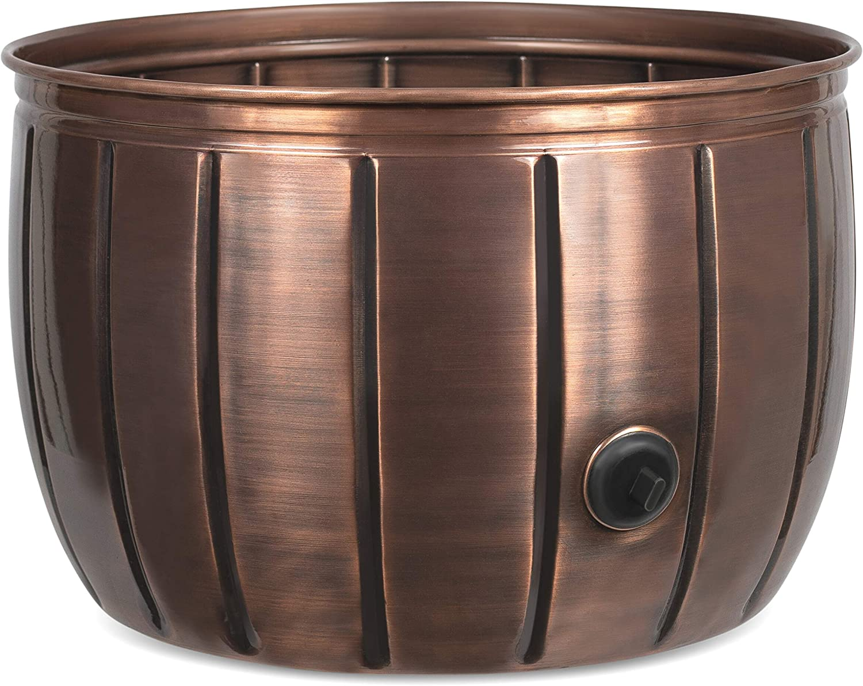 BIRDROCK HOME Decorative Water Hose Holder Pot with Antique Copper Exterior - Ground Garden Hose Box - Steel - Powdered Coated - Embossed - Steel Metal Hider - Outdoor or Indoor Use