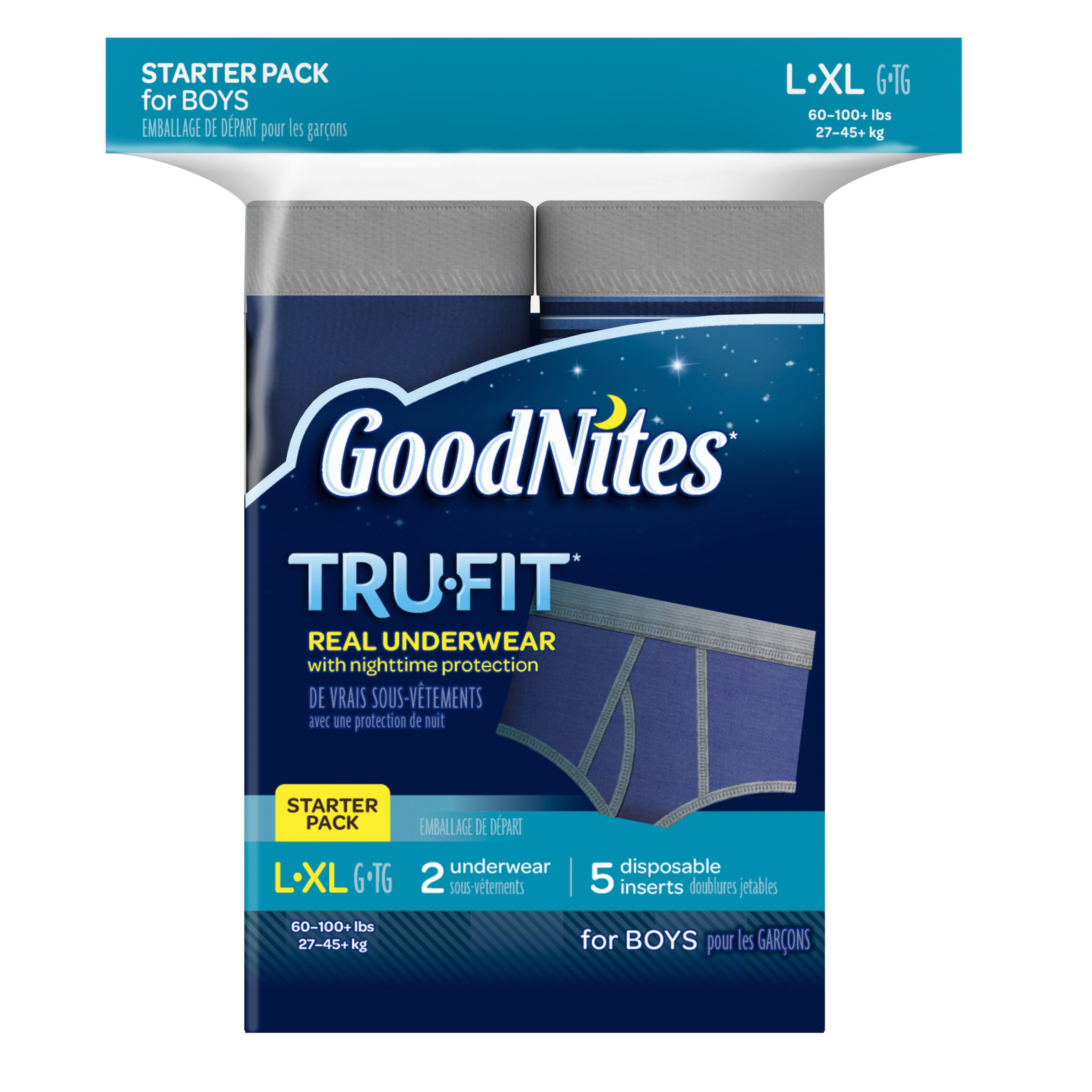 GoodNites Tru-Fit Real Underwear with Nighttime Protection Starter Pack for Boys, Large and Extra Large, 7 Count