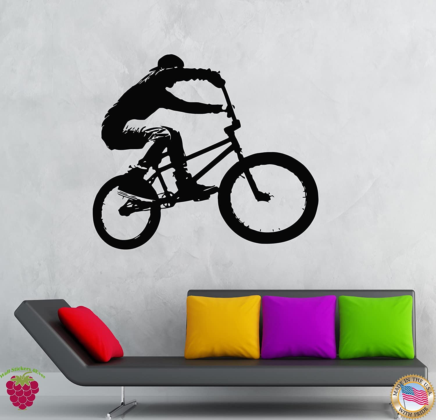 Wall Vinyl Stickers Bike Riding Bicycle Youth Cool Modern Decor (z1969m)