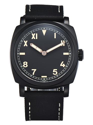 PARNIS 9095 clásica cuerda manual para hombre de pulsera de reloj 47 mm Reloj de hombre acero inoxidable 316L Carcasa de piel de pulsera Marca Reloj Seagull ...