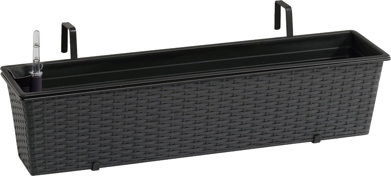 Weles GMBH Jardinera para balcón de polyrattan Incluye suspensión y Sistema de riego, Antracita, 80 x 19 x 18 cm