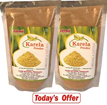 Farm Naturelle & Free Raw Forest Honey Today-Organic Karela Powder 100 Gms Pack Of