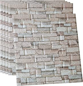 POPPAP 3D Wall Panels Foam Brick Cream Grey Color Painted Stone Effect Wall Tiles Peel and Stick Foam Planks for Living Room Bedroom TV Background Wall Decor Tiles 5 Panels