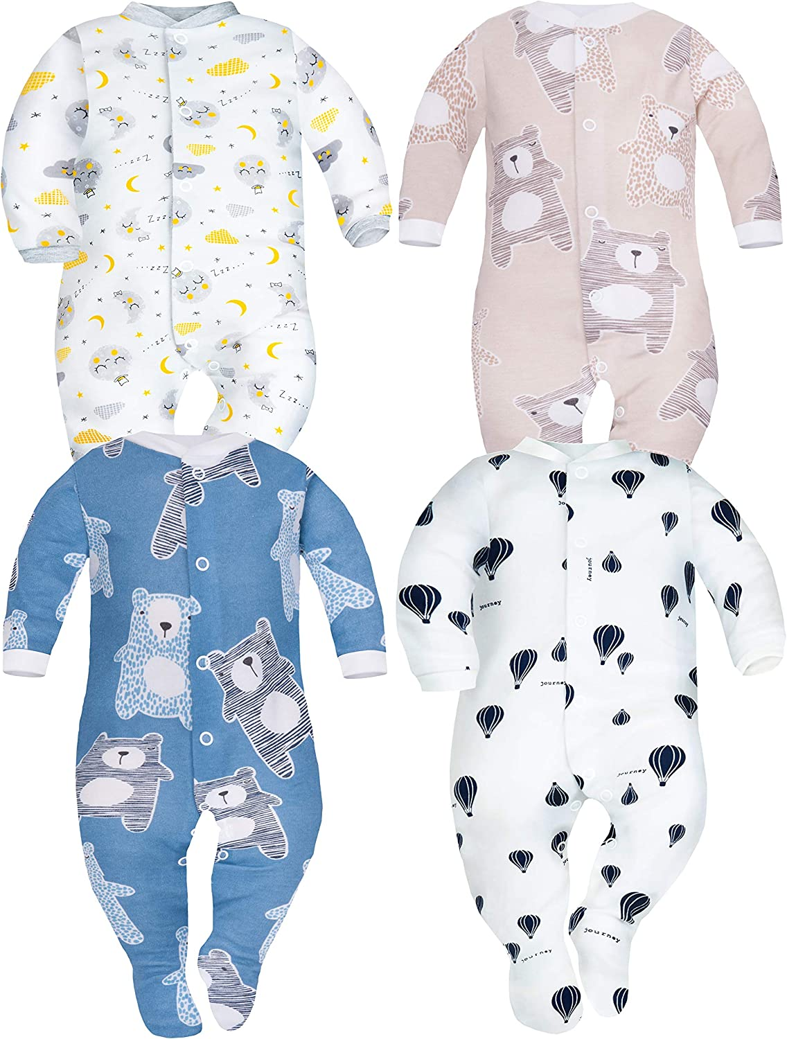 SIBINULO Baby Boys Baby Girls Sleepsuit with Feet Mix Sizes 0-9 Months Pack of 4