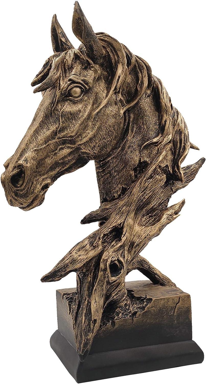 LOOYAR Resin Horse Head Statue Sculpture Ornament Collectible Figurine Craft Furnishing for Home Décor Farm House Living Room Porch Decoration Office Desk Desktop Table Wine Cabinet Arrangement Gift