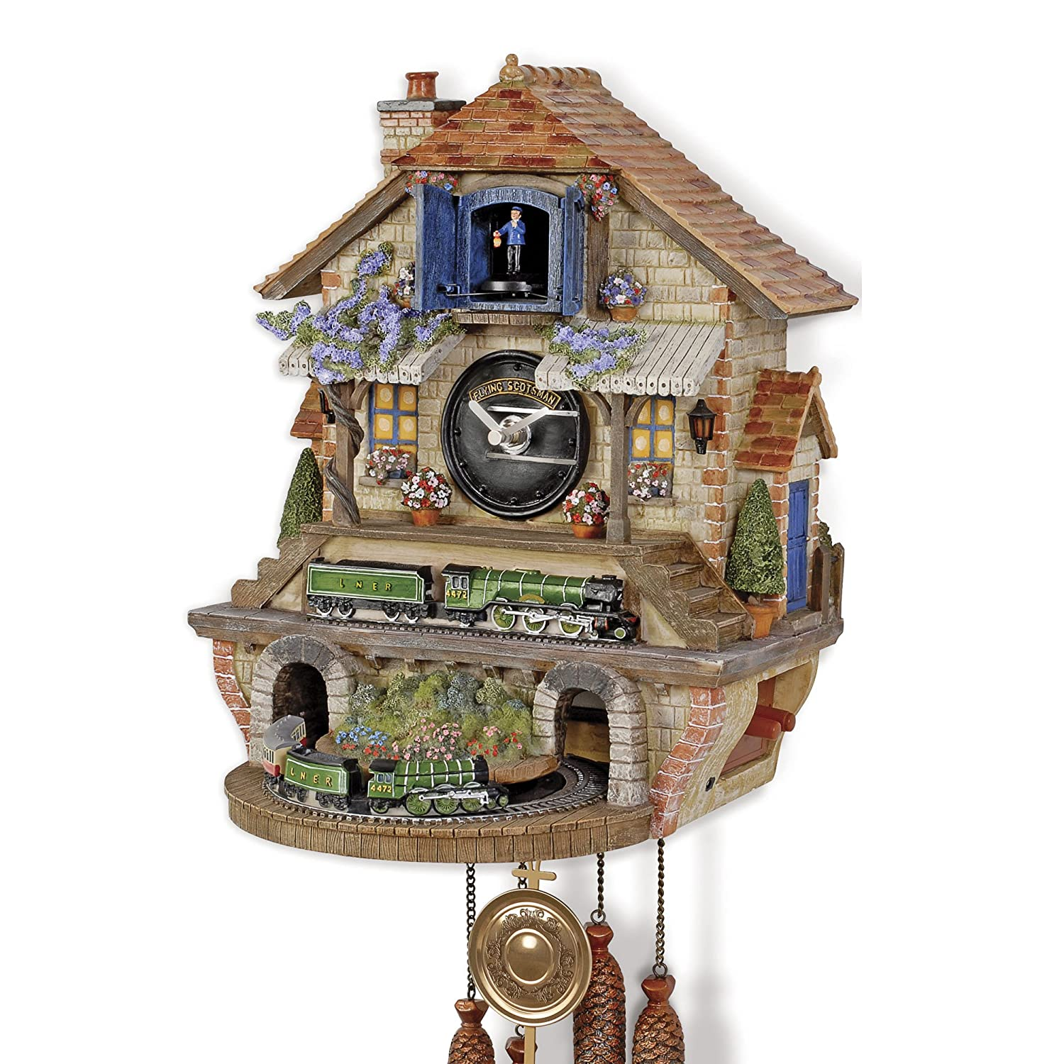 The Bradford Exchange 'Memories of Steam' - 80th Anniversary Flying Scotsman Cuckoo Clock - Hand Painted