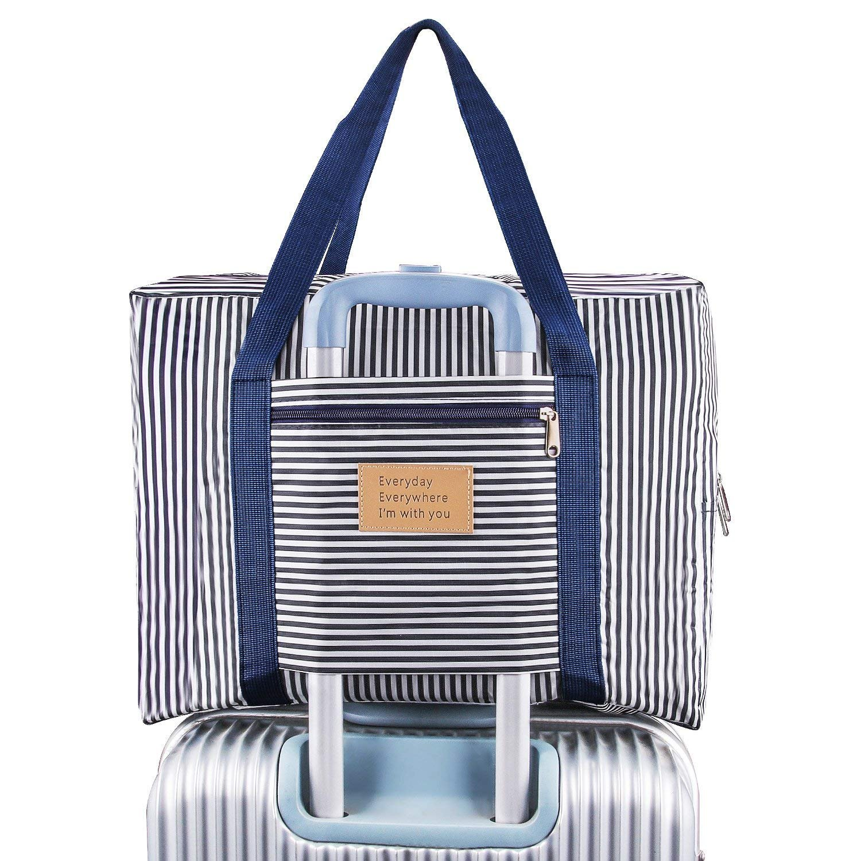 HOME CUBE Foldable Waterproof Nylon Navy Blue Travel Duffel Bag