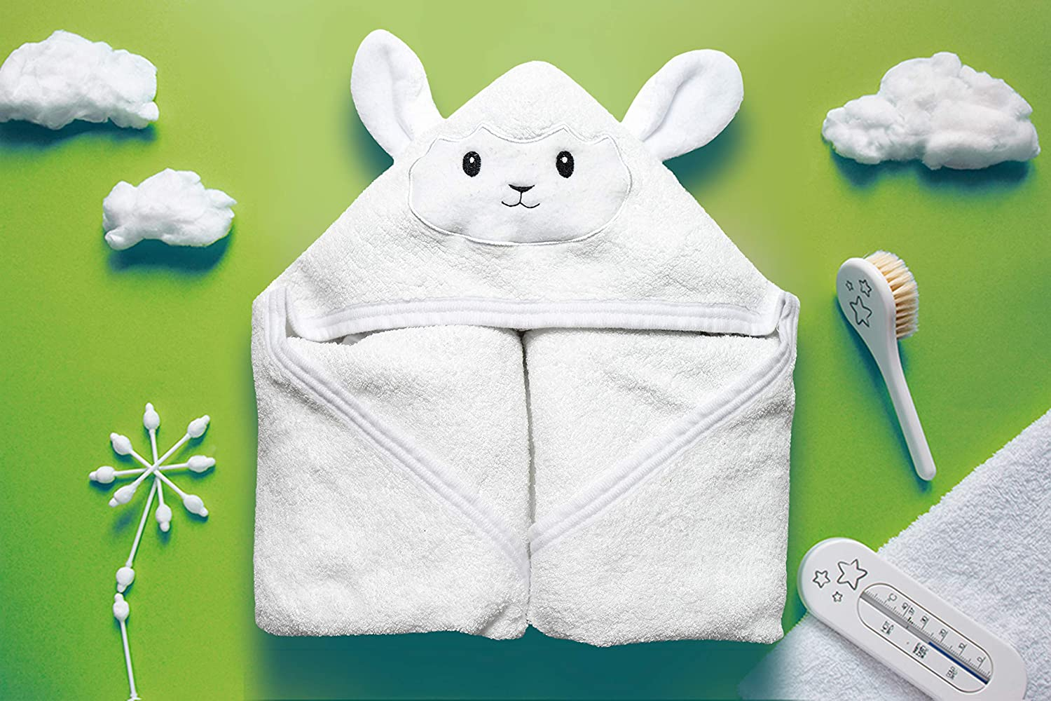 Includes Washcloth /& Laundry Bag Organic Hooded Baby Towel