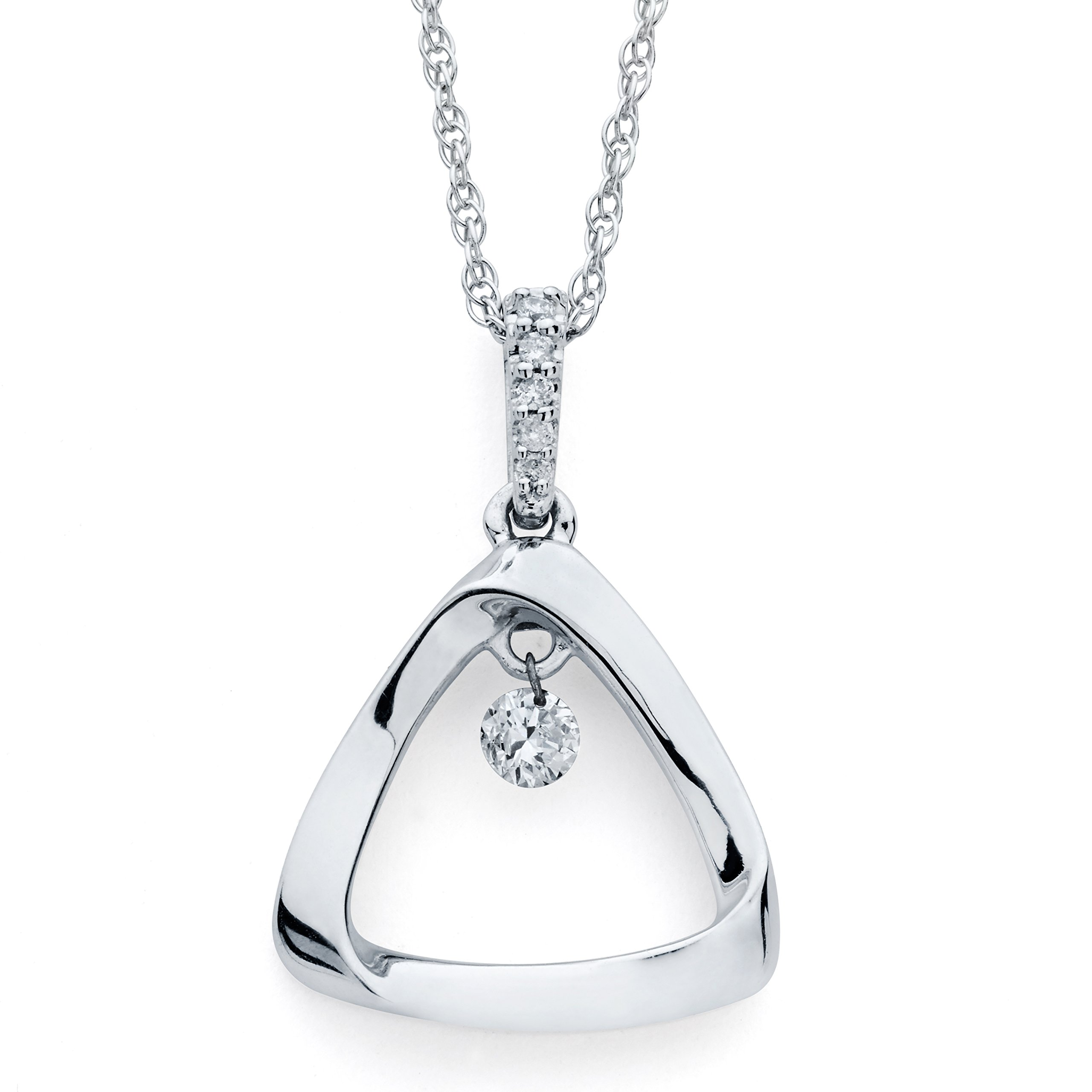925 Sterling Silver Dancing Diamond Triangle Pendant Necklace, 18'' (1/10 cttw., I Color, I1 Clarity)