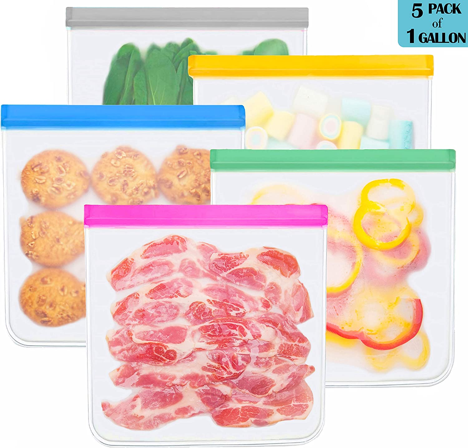 Reusable Gallon Storage Bags - 5 Pack BPA FREE Food Bag Reusable Sandwich Bags Ziplock Storage Bags Containers Plastic Conteiner Freezer Size Zip Snack Lunch Sous Vide for Marinate Meats Fruit