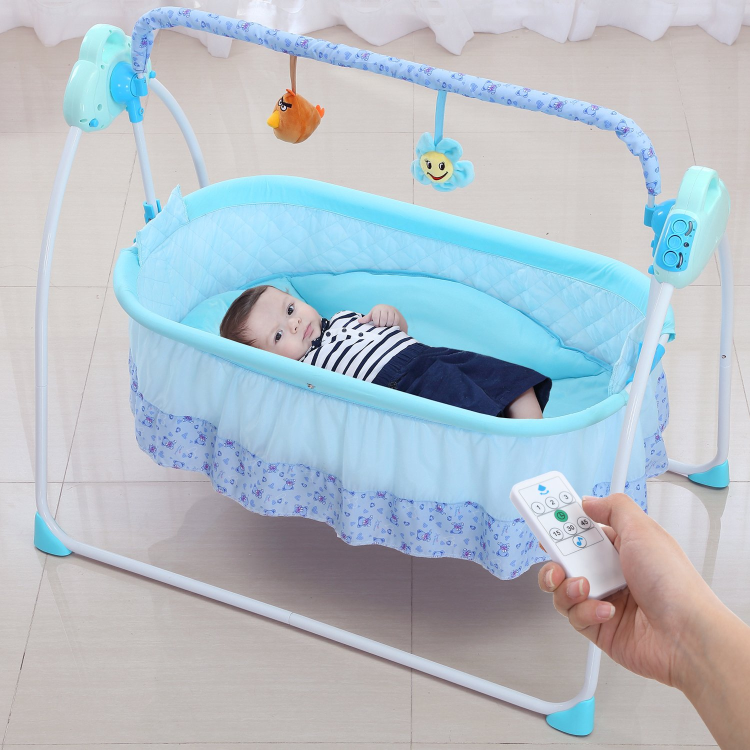 Electric Baby bassinet Swing, Music Remoter Control Sleeping Basket Bed(Blue)