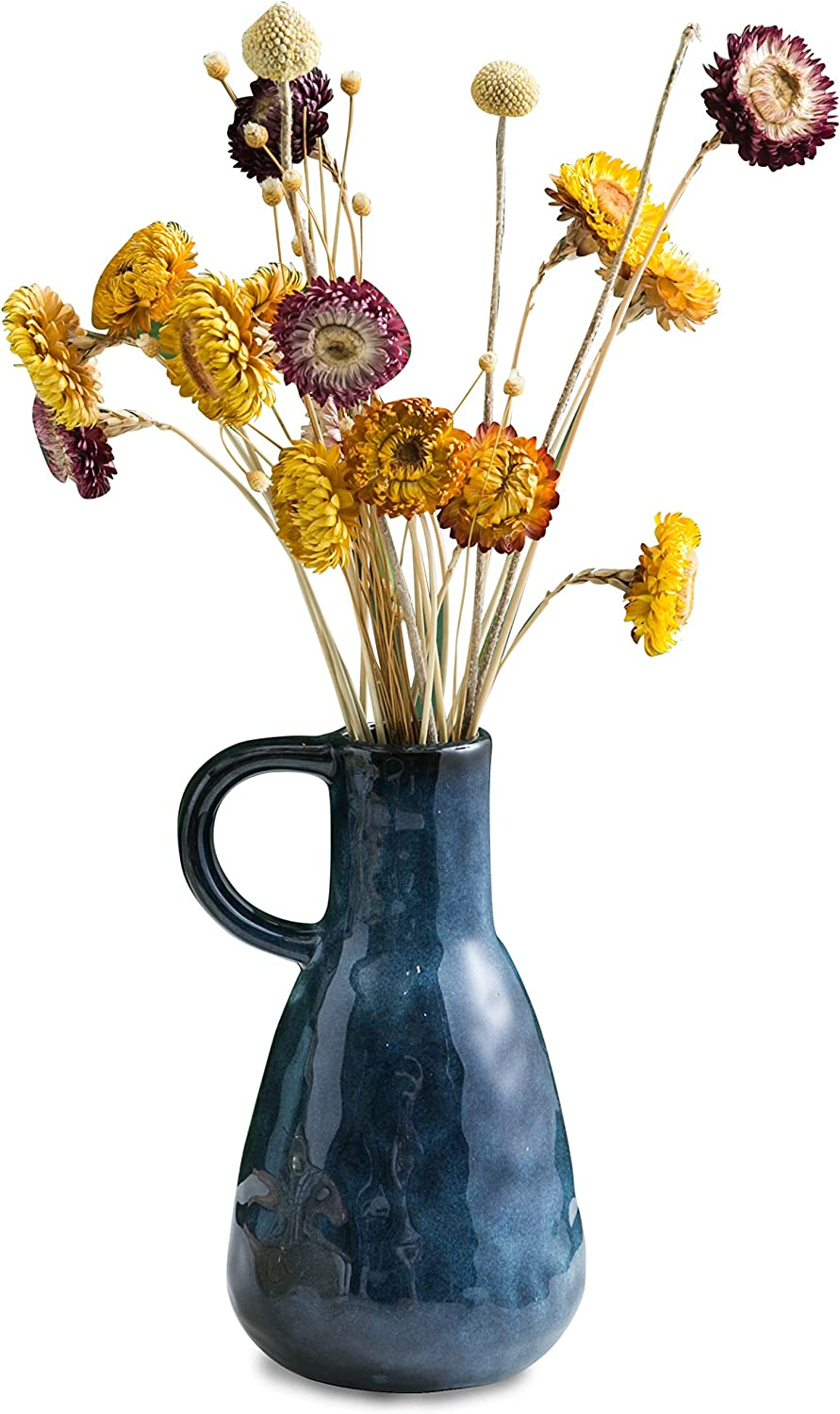 """Ceramic Vase, Decorative Vases, Glazed Blue Flower Vases with Handle for Home Décor, Centerpieces, Kitchen, Office, Wedding or Living Room, Blue Color, 8"""" Tall"""
