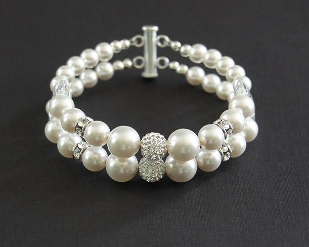 71e5f4426882d Amazon.com: Swarovski Pearl Bracelet, 2-strand pearl bracelet ...