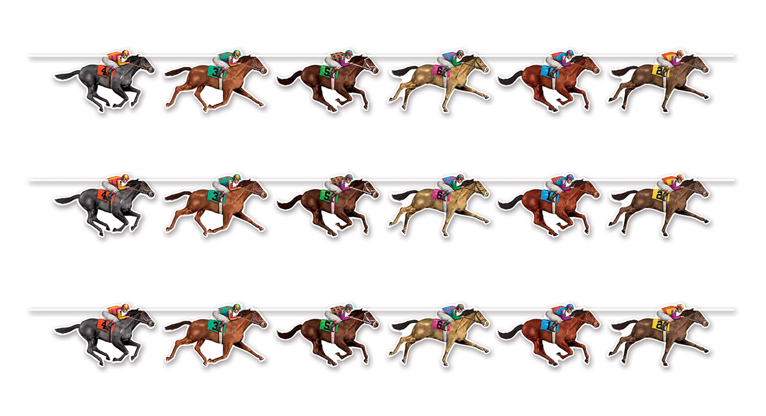 Beistle 59951 3 Piece Horse Racing Streamers, 10.5'' x 6', Multicolor