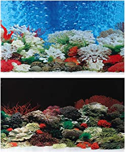 POPETPOP Aquarium Fish Tank Landscape Wallpaper Double Sides Poster Background Decoration Wall Art Mural Backdrop Wall Paper for Living Room Home Store Decoration (B-03C 62cm in Length)