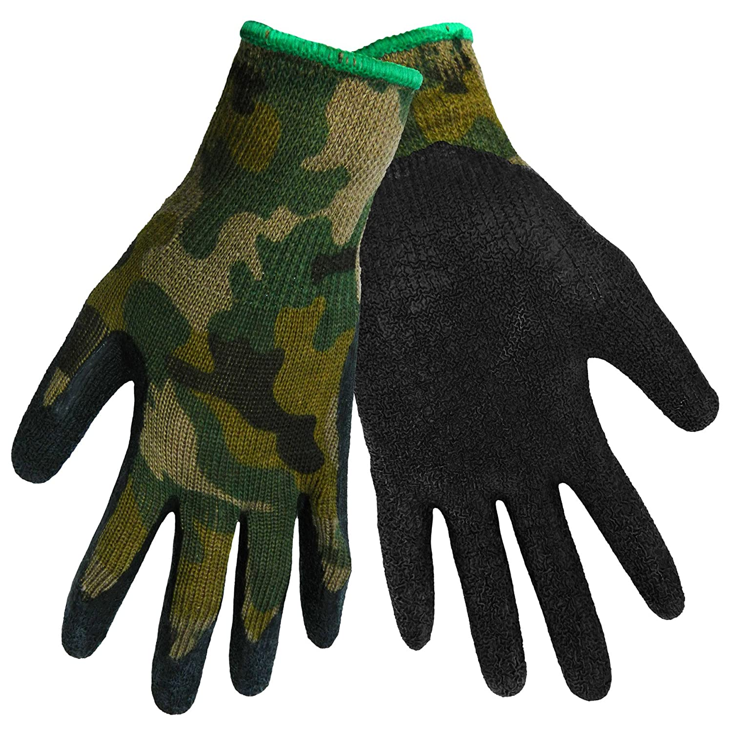300B-08 Black Global Glove 300B Gripster Rubber Dip Glove with Knitwrist and Seamless Camo Poly//Cotton Liner Case of 72 Work Medium