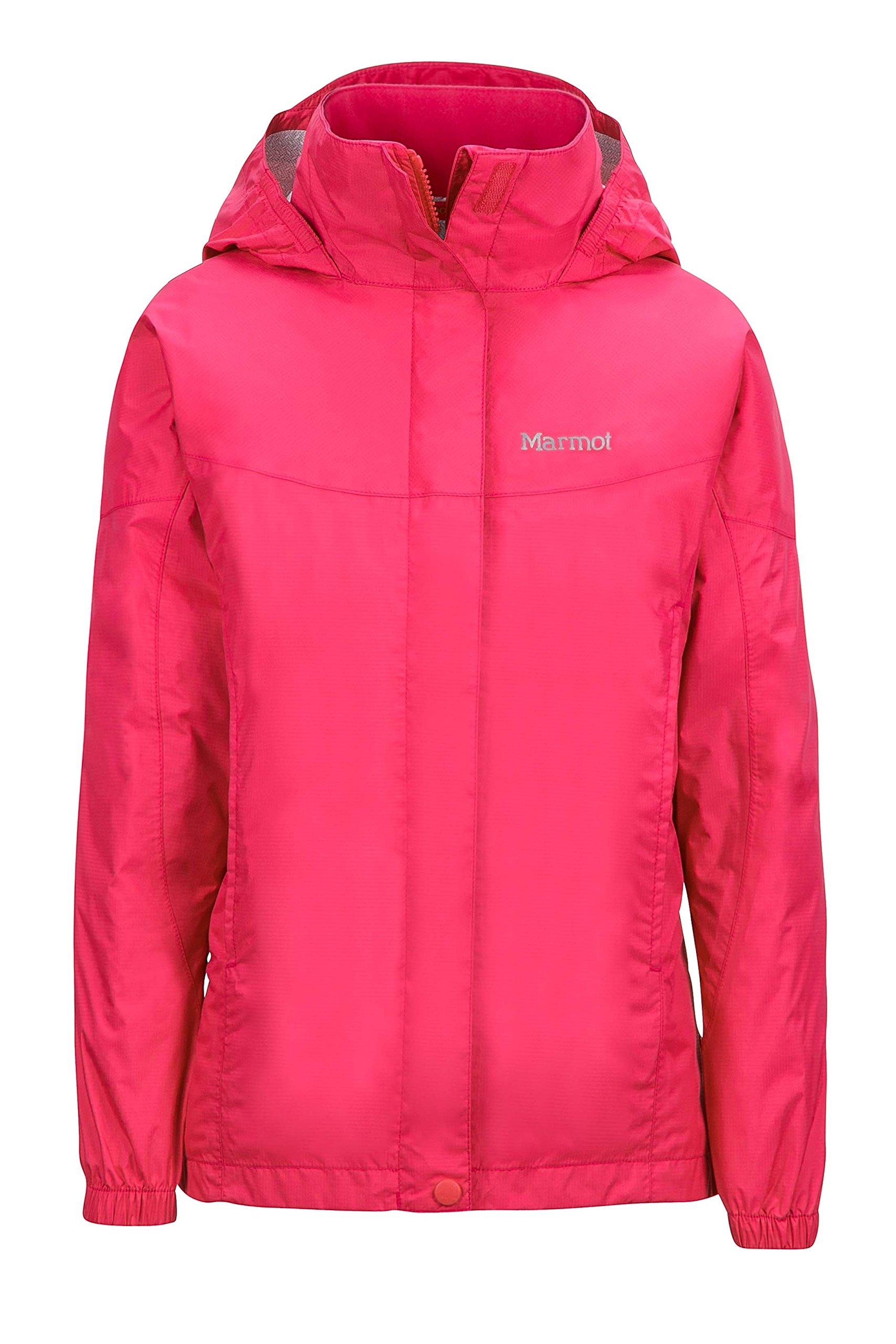 Marmot PreCip Girls' Lightweight Waterproof Rain Jacket, Pink Rock, Small