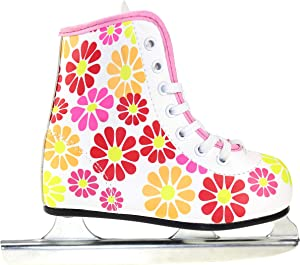American Athletic Shoe Girl's Little Rocket Double Runner Ice Skate, White, 8