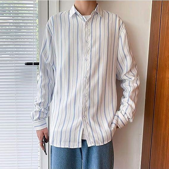 Camisa a Rayas para Hombre Camisa Holgada Informal Estilo ...