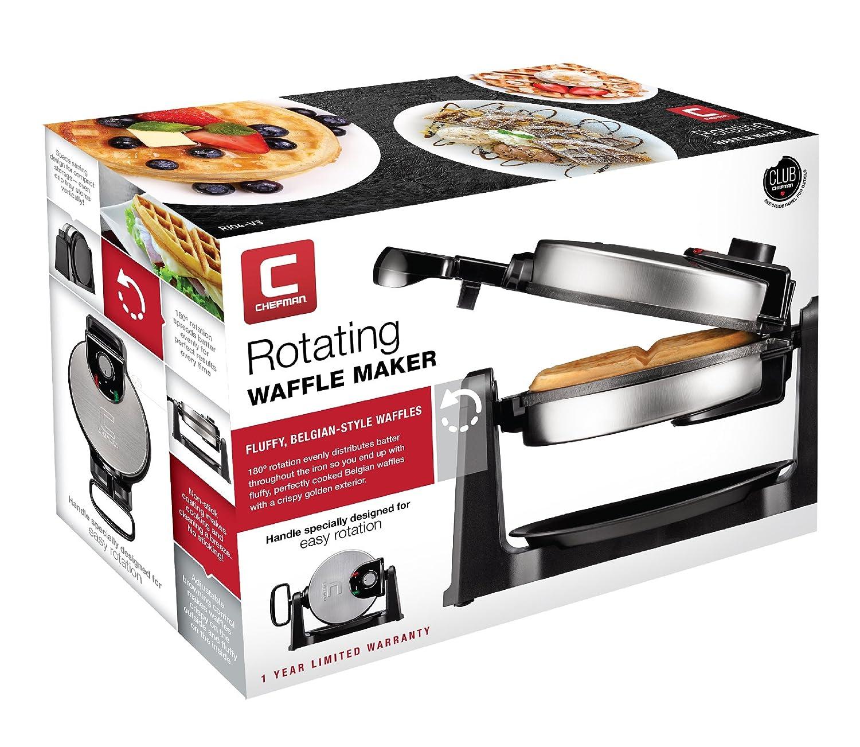 180 Degree Single Flip Waffle Iron w// Non-Stick Plates Stainless Steel Chefman Rotating Belgian Waffle Maker