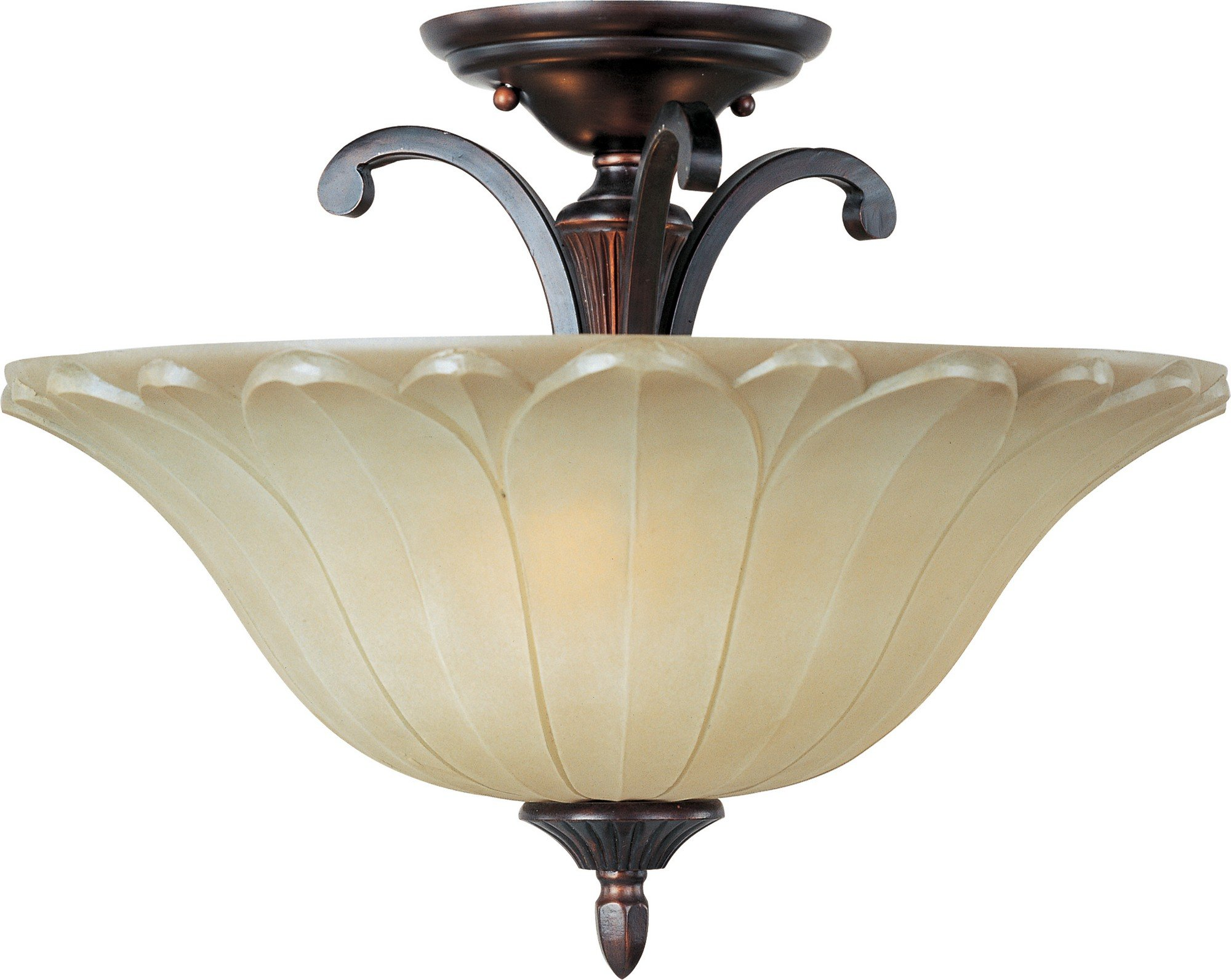 Maxim 13501WSOI Allentown 3-Light Semi-Flush Mount, Oil Rubbed Bronze Finish, Wilshire Glass, MB Incandescent Incandescent Bulb , 60W Max., Dry Safety Rating, Metal Shade Material, Rated Lumens
