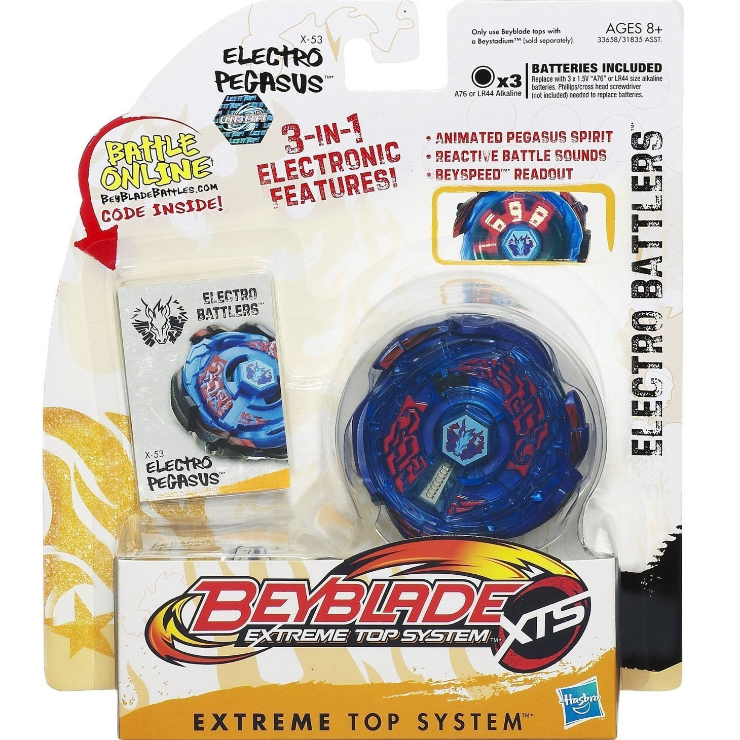 Hasbro Year 2011 Beyblade Extreme Top System XTS Electro Battlers : X-53 ELECTRO PEGASUS with 3 in 1 Electronic Features (Animated Pegasus Spirit, Reactive Battle Sounds and Beyspeed Readout) Plus Spin Launcher, Ripcord and Battle Online Code by Beyblade [並行輸入品] B01COLX5JU