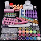 Cooserry 79 in 1 Acrylic Nail Kit Set - 24 Acrylic Nail Glitter Powder with Rhinestones For Nail Art Decoration - Gel…