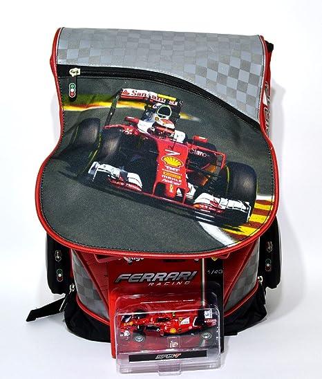 Mochila escolar Ferrari extensible diseño rojo negro + gratis oferta New