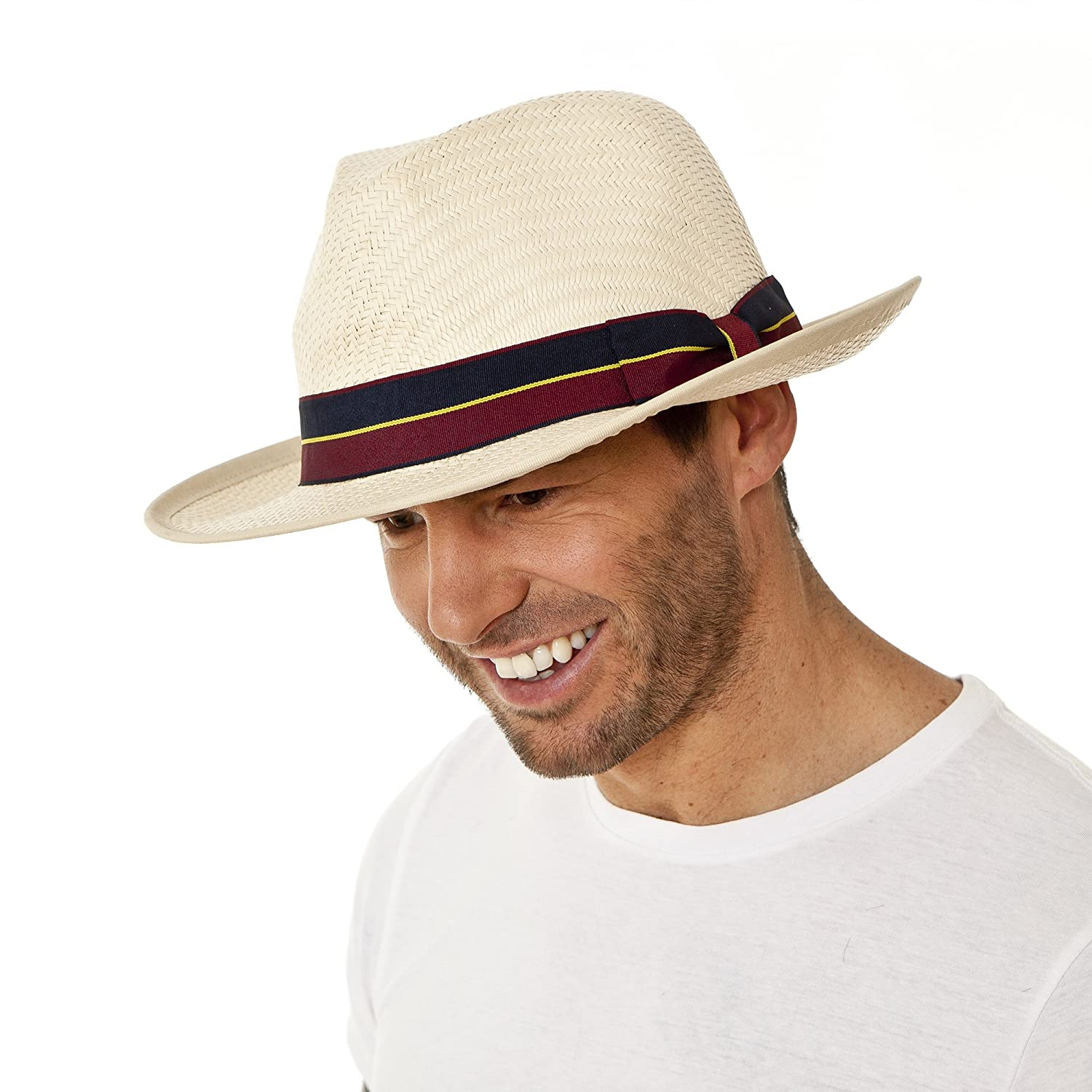 i-Smalls Men's Summer Traditional Panama Hat with Military Style Band MS14120