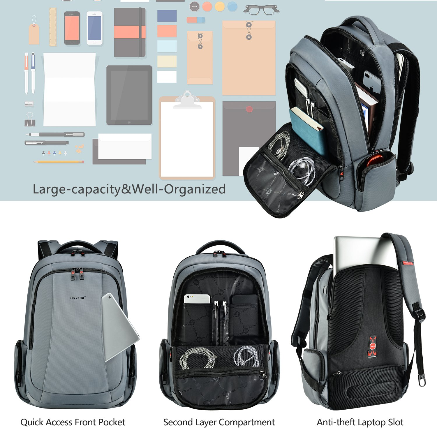 0a78a2f4818a Amazon.com  Tigernu Business Laptop Backpack Slim Anti Theft Travel  Computer Backpacks Environmentally Water-Resistant Laptops Bag for  Men Women 15.6 Inch ...