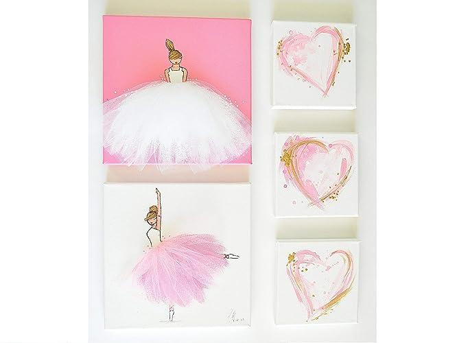 Baby Girl Bedroom Decor Set, Pink Wall Art for Nursery, Girl\'s Room Pink  Decor, Ballerina Original Art