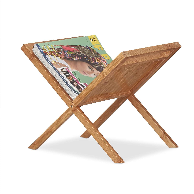 Relaxdays Bamboo Magazine Holder, Newspaper Rack Handles, Compact, Freestanding, DIN A4 A5, Natural 10022163