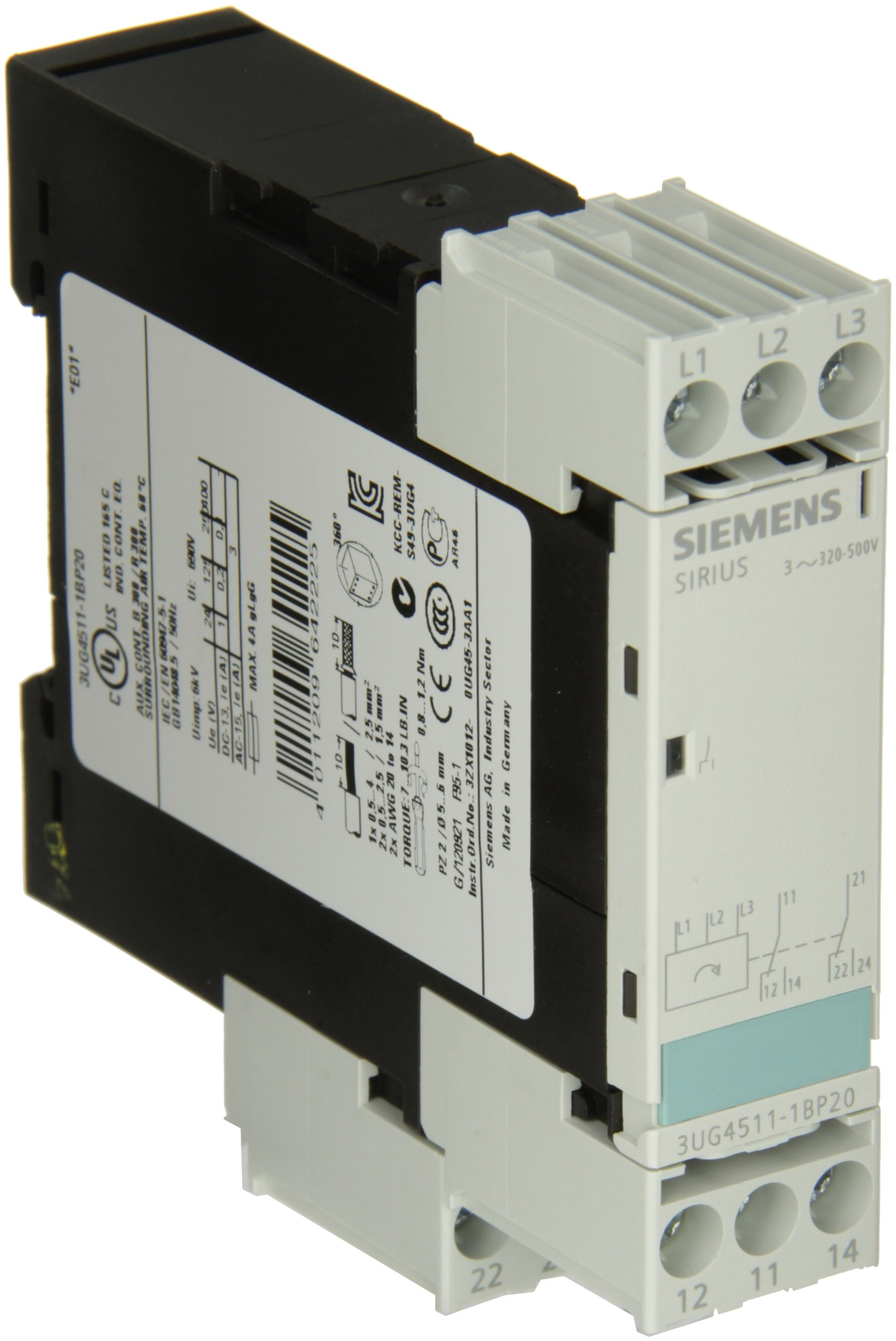 Siemens 3UG4511-1BP20 Monitoring Relay, Three Phase Voltage, Insulation Monitoring, 22.5mm Width, Screw Terminal, 2 CO Contacts, Delay Time, 420-690 Line Supply Voltage by SIEMENS