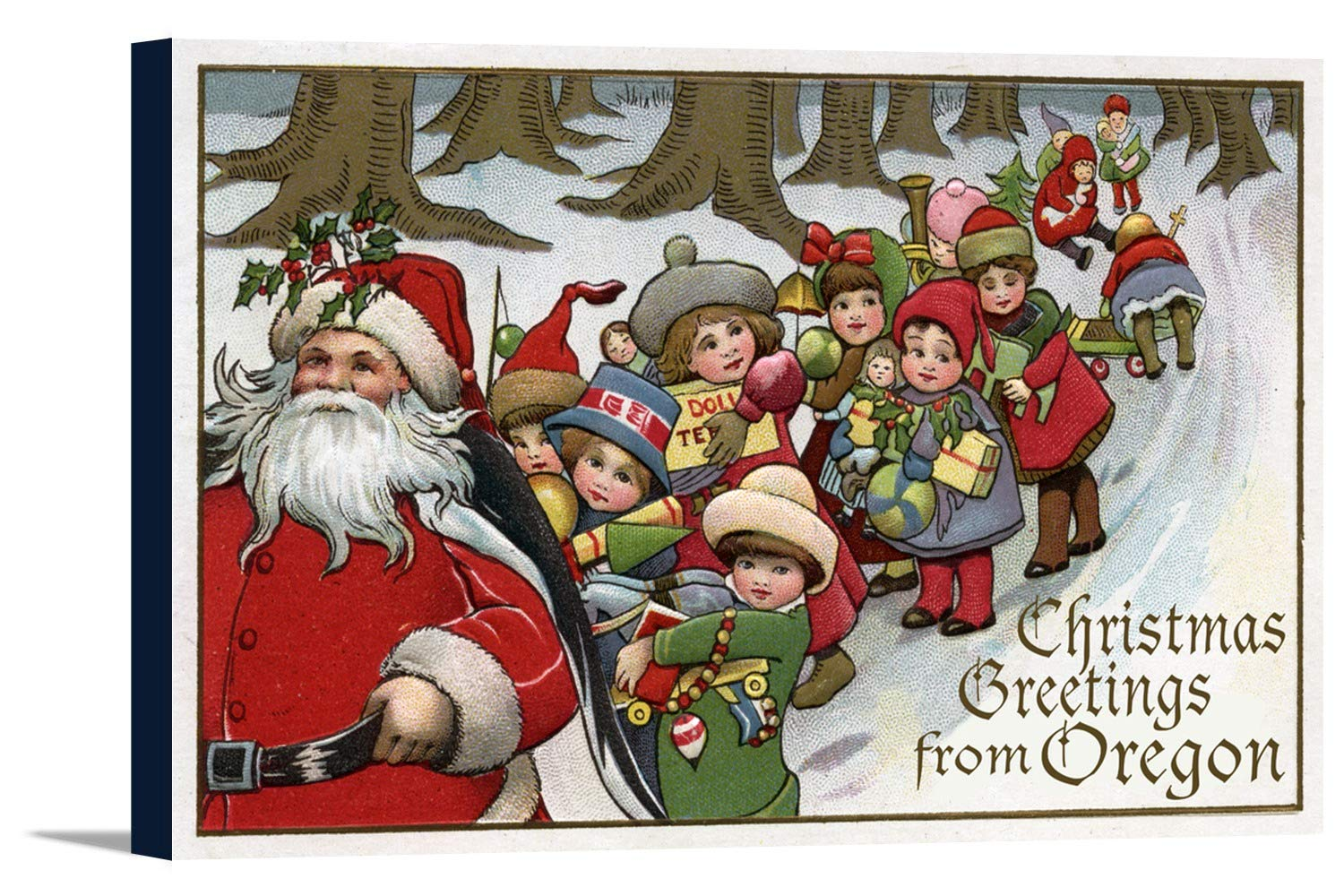 Christmas Greetings From Oregon – サンタとそり 36 x 24 Gallery Canvas LANT-3P-SC-32399-24x36 B0184AYB02  36 x 24 Gallery Canvas