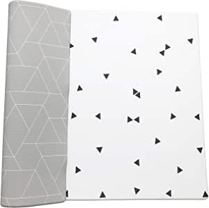 Ofie mat by Little Bot Baby, Soft Baby Play mat, Reversible and Non-Toxic Foam mat (Large, Zen line + Triangle)