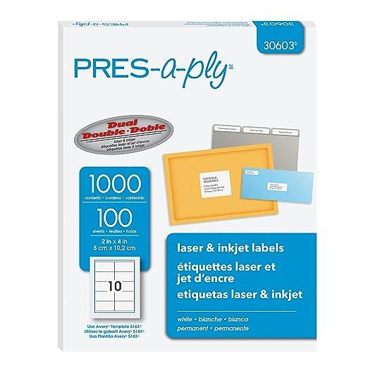amazon co jp pres a ply laser address labels 2 x 4 white 1000