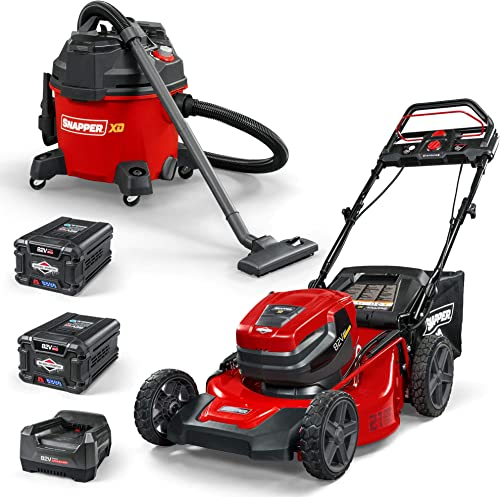 Snapper XD 82V Cordless Electric Bundle with Step Sense 21-Inch Lawn Mower, Wet Dry Shop Vacuum, 2 Batteries Rapid Charger