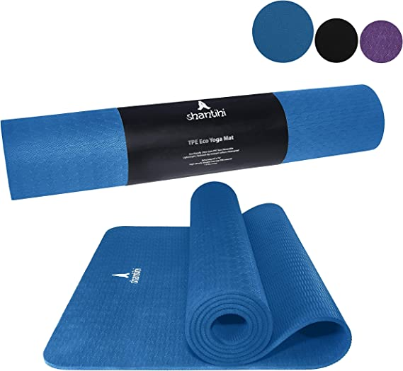 Amazon Com Shantihi Yoga Mat Thick Eco Friendly Premium Tpe Yoga Mat Non Slip Reversible Durable Exercise Pilates Mat Dark Blue Sports Outdoors
