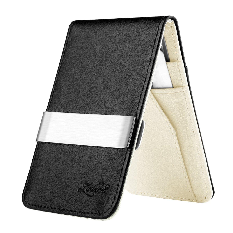 Zodaca Horizontal Genuine Leather Money Clip Wallet, Black/White eForCity MOTHXXXXWL04
