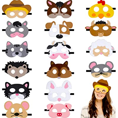 16 Pieces Farm Forest Animal Felt Mask Cartoon Face Masks Animal Party Masks for Halloween Christmas Party Costumes Supplies (Farm Animals): Clothing