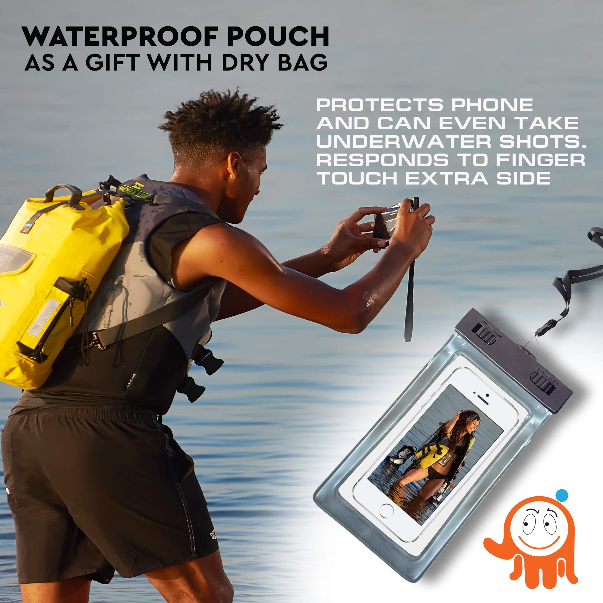 Luck route Waterproof Dry Bag with Backpack Straps and Pockets – Floating  DryBag for Beach ... 1461c57cef8ae
