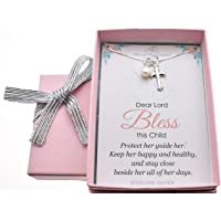 """Baby Girl's Cross necklace in Sterling Silver with freshwater pearl on a 14"""" sterling box chain + 2"""" extender. Baby girl gift. Baptism gift for baby girl. Baby shower. Little girl jewelry. M3102"""